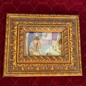 Small Heavy Wooden Frame Painted Rich Gold